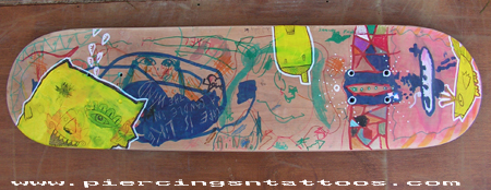 Skateboard designed by tattooist Lionel and his four children