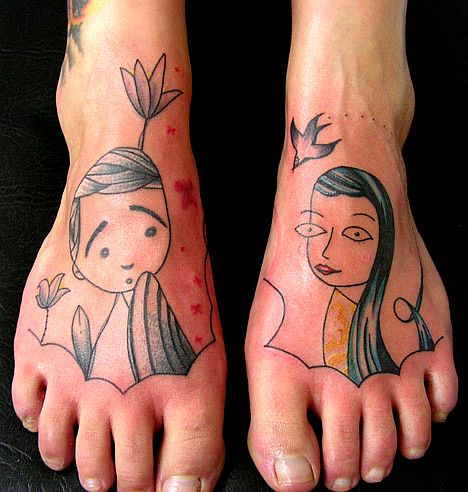 Very cute Foot Tattoo by Lionel