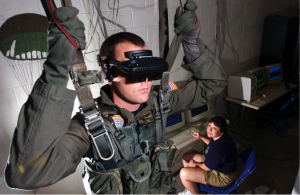 Virtual reality parachuting simulation