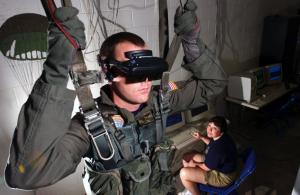 Virtual reality parachuting simulation
